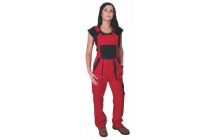 Pracovné nohavice dámske s trakmi LUX SABINA červené