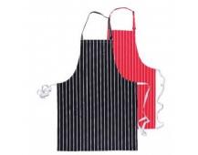 Zástera pánska kuchárska / mäsiarska čierna s prúžkom