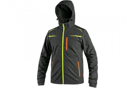 Softshellová bunda CXS Norfolk, černá s HV doplňky