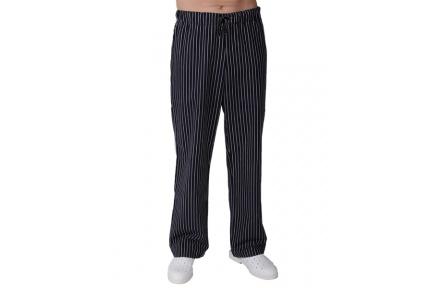 Kuchárske nohavice PÁNSKE, čierne s bielym prúžkom