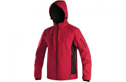 Softshellová bunda DURHAM červeno-černá