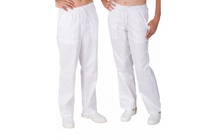 Biele nohavice dámske UNI, celé do gumy