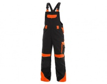 Pracovné nohavice s trakmi SIRIUS Brighton čierno / oranžové