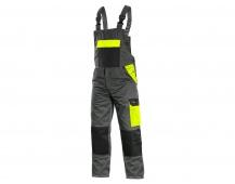 Pracovní kalhoty PHOENIX CRONOS s laclem, šedo-žluté